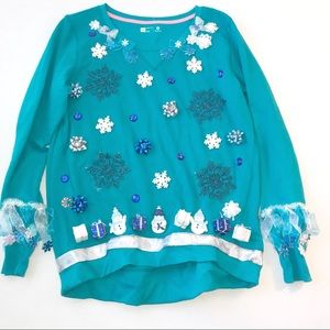 Sweaters - Ugly Christmas Holiday Handmade Blue Sweater Sz M